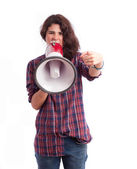 Girl giving an order with a megaphone — Stock Photo
