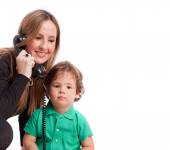 Mother and son calling — Stock Photo