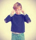 Child with concentration gesture — Stock Photo