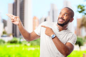 young cool black man pointing — Stock Photo