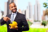 Young cool black man pointing savings — Stock Photo