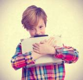 Selfish child with a briefcase — Stock Photo