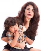 Mom and her son with disgust gesture — Stock Photo