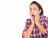 Surprised girl shouting — Stock Photo