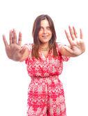 Attractive girl stop gesture — Stock Photo