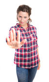 Young girl prohibition gesture — Stock Photo