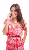 Happy girl with a mobile — Stock Photo