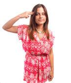 Girl suicide gesture — Zdjęcie stockowe