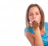 Girl sending a kiss — Stock Photo