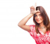 Worried girl loser gesture — Stock Photo