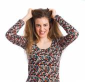 Hysterical young girl — Stock Photo