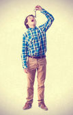 Teenager with key. Swallow gesture — Stock Photo