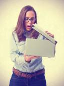 Young woman opening a box  — Stock Photo