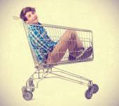 Teenager inside a trolley — Stock Photo