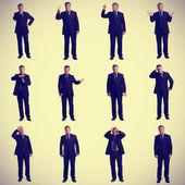 Old businessman gestures — Stock Photo