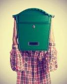 Mail box head man — Stock Photo