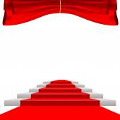 Red curtain and red carpet — Stock Vector