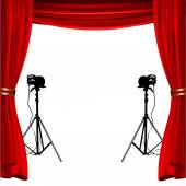 Empty stage with red show curtain and flashlight to place your concept — Vetor de Stock