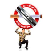Young man holding a no smoking symbol — Stock Vector