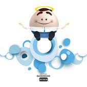 Businessman angel cartoon imploring on a cloud — Stock Vector
