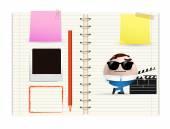 Filmmaker on notebook — Stock Vector