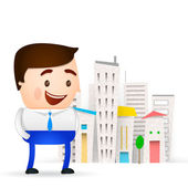 Businessman cartoon man on city background — 图库矢量图片