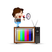 Man shouting on a tv — Stock Vector