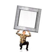 Man holding a frame — Stock Vector