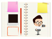 Photographer on notebook — Stock Vector