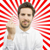 Young man with disagreement gesture — Stock Photo