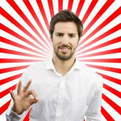 Young man with all right gesture — Stock Photo