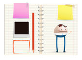 Businessman cartoon on notebook — Stock Vector