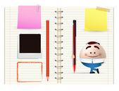 Businessman cartoon and notebook — Stock Vector