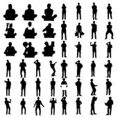 Black people silhouettes — Stock Vector