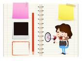 Hispter on notebook — Stok Vektör