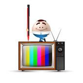 Businessman cartoon on tv — Stock Vector