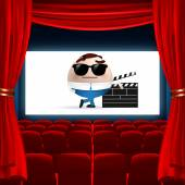 Cartoon on cinema screen — Stock Vector