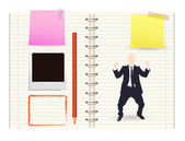 Businessman and notebook  — Stock Vector