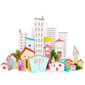 Cartoon town and city — Stock Vector