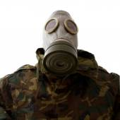 Military with gas mask — Stock Photo