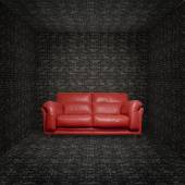 Red leather sofa into brick room — Stock Photo