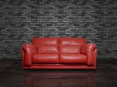 Red leather sofa — Stock Photo