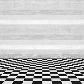 Empty room wood wall and squared floor — Fotografia Stock