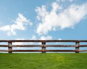 Wooden fence in green grass meadow — Stock Photo