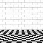 Brick white wall and squared floor room — Fotografia Stock