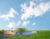 Bill boat on a lake — Stock Photo
