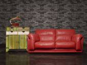 Red leather sofa in vintage ambient — Stock Photo