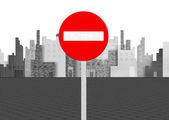 Forbidden sign on city background — Stock Photo