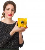 Young girl with a piggy bank — Stock Photo