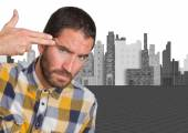 Young man suicide gesture — Stock Photo